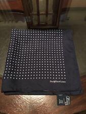 Ralph Lauren Gent's Handkerchief Navy Blue Polka Dots 100% Silk Made In Italy