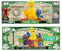 1 rue SESAME Billet MILLION DOLLAR US ! STREET Collection Marionnette TV 80 Elmo