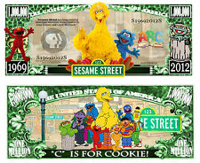 1 rue SESAME Billet MILLION DOLLAR US ! STREET Collection Marionnette TV 80 Elmo