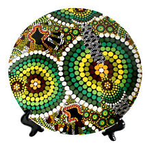 Australia Display Plate Stand Aboriginal Dot Art Colours Rainforest Souvenir