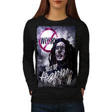 Wellcoda 420 happy Weed Womens Long Sleeve T-shirt, Rastafari Casual Design