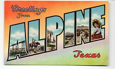 Greetings from Alpine Texas Big Letters Postcard 1940s
