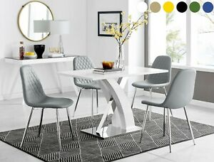 ATLANTA High Gloss Grey Chrome Dining Table Set & 4 Velvet / Faux Leather Chairs