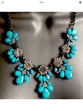Sky Blue Gem Statement Necklace • Wedding Party Gift present BIRTHDAY EVENING