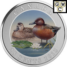2015 'Cinnamon Teal' Colorized 25-Cent Coin (Oversized) (16999)