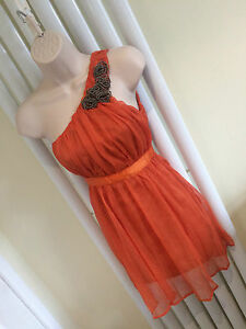 AX PARIS Stunning Burnt Orange Chiffon One Shoulder Skater Dress Size 10 NEW