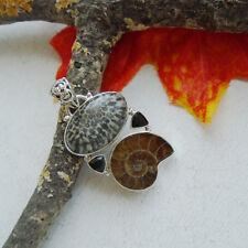 Ammonit Fossil Onyx Stingray Koralle braun schwarz Anhänger, 925 Sterling Silber