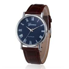 Man Pointer Indicatio Retro Leather Band Compass Dial Quartz Wrist Watch Brown A