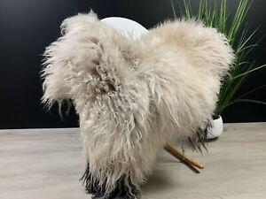XL White Black Curly Sheepskin Pelt Pet Bed Cover Rug Animal Skin Luxury