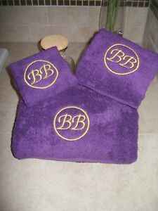 Bath Towel Set with Circle and Letters Monogram -Bath Towel, Hand Towel and Wash