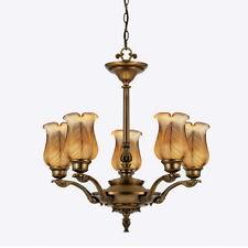 Legacy Brass And Threaded Leaf Art Glass 5 Light Chandelier