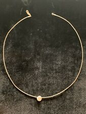 """H Stern Station Necklace White Gold Diamond Bead Wire Choker 15"""" Lobster Closure"""