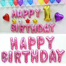 16'' HAPPY BIRTHDAY Letters 13Pcs Foil Balloons Party Decoration Pink Color Cute