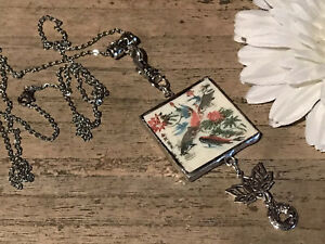 Recycled Broken Game Tile Jewelry, Vintage Asian Etched Double Sided Pendant