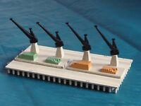 (S) triang minic waterline ships 2 CRANE UNITS & QUAY - M837