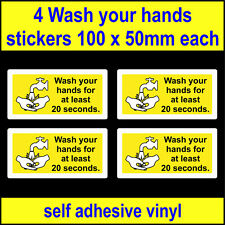 yellow 4 Wash your hands for at least 20 seconds Stickers hygiene viny sink sign