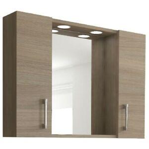 Specchio specchiera da bagno arredo 2 ante 2 luci led laccato Rovere Fumo