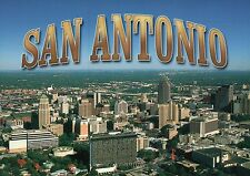San Antonio Texas, Downtown Aerial View, City of The Alamo, Riverwalk - Postcard
