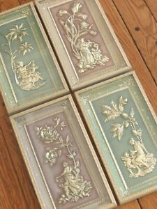 SET 1950s Vintage Metalcraft 4 Fours Seasons Wall Art Pictures Pink Green Gold