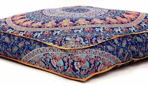 """35"""" Large Multi Indian Mandala Square Floor Pillow Case Cushion Cover Dog Bed"""