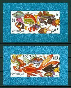Mongolia Scott #2318-2319 MNH S/S Fish FAUNA CV$10+