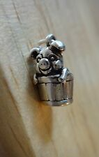 Sterling Silver 3D 13x6mm Pig in Bucket Farm FFA Animal Charm