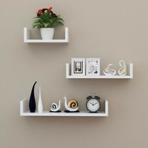 Set of 3 U Shape shelves Floating Wall Shelve Home Decor Storage Wood Shelf Unit