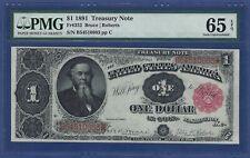 1891 $1 TREASURY NOTE FR-352  ♚♚BRUCHE & ROBERTS♚♚   PMG GEM UNC 65 EPQ