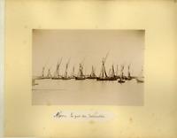 Algérie, Alger, Le port des Balancelles Vintage albumen print.  Tirage albumin