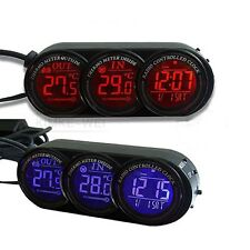 Car In/Out Thermometer & Clock Calendar Backlight New