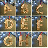 Letter Alphabet Personalised Wooden Christmas Tree Decoration, Hanging Dec