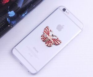 360 Rotating Cell Phone Crystal Butterfly Ring Stand Holder Kickstand BUTTERFLY