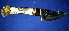 Deer Stag Handle Hunting Fixed Blade Gut Hook Knife with Leather Sheath