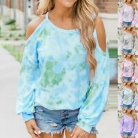 Womens Long Sleeve Lady Tops Loose Cold Shoulder Blouse T-Shirt Tee Plus Size
