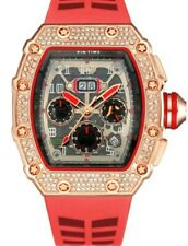 MEN'S Watch   quartz  red  Diamond  style LIMITED  SHIPS FROM USA