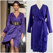 True Vintage DISCO Purple Wrap Dress 70's Long-Sleeve Rose Print 100% Silk Sz M
