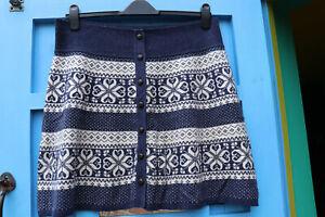 FAT FACE fair isle knitted skirt Size 16 Navy + Cream Flared a-line skirt Unworn