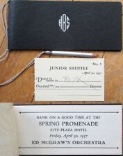 Dance Card: 1937 Art Deco, Check Book Format, 'Bank on a Good Time' - Ritz Plaza
