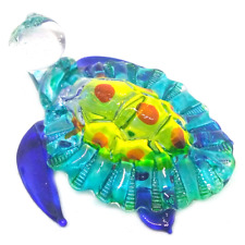 Turtle #1 hand blown clear glass miniature figurine crystal dollhouse animal