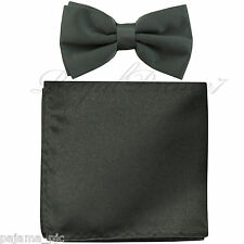 New Charcoal Gray Men's pre tied Bow tie & Pocket Square Hankie set