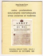 Catalogue enchères souvenirs historiques, cartes, armes