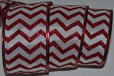 "New listing Wired Ribbon~Red Sparkle Zig Zag Stripe~Chevron~2.5""~ Holiday~Valentine~Gift~Bow"