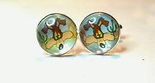 Wile e Coyote, Colour Cartoon Glass Domed Cufflinks, Roadrunner, acme, genius
