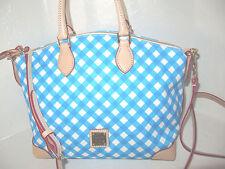 Dooney & Bourke Aqua Blue White Gingham Dome Canvas Leather Satchel Bag NWT $228
