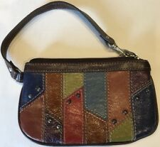 Adorable Fossil Multicolor Patchwork Leather Wristlet Three Card Slots, Pocket