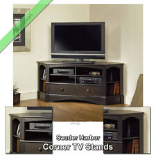 "Corner TV Stand Wood 60"" Console Table Stands for Flat Screens, Antique Black"