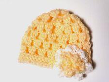 Hand crocheted girls preemie hat- peach and white hat- Shower Gift