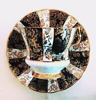 Vintage Royal Windsor Black Gold Floral Chintz English Bone China Cup and Saucer