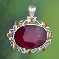 925 Sterling Silver Huge Ruby & Citrine gemstone Pendant jewelry 15.04g