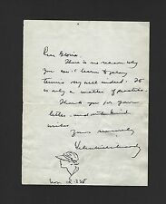 HELEN WILLS MOODY AUTOGRAPHED LETTER & ART SIGNED CIRCA 1938